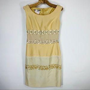 Vintage NWT Silk Sheath Dress Gold Embroidery Sz 6